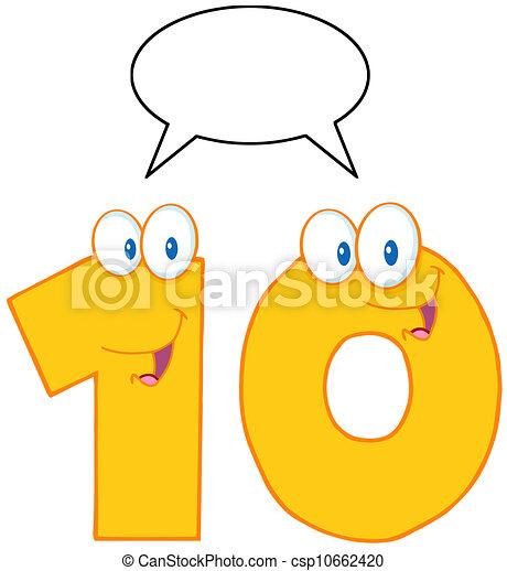数, 特徴, 10, 黄色 - csp10662420