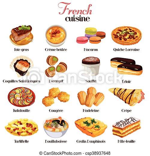 料理, アイコン, フランス語 - csp38937648