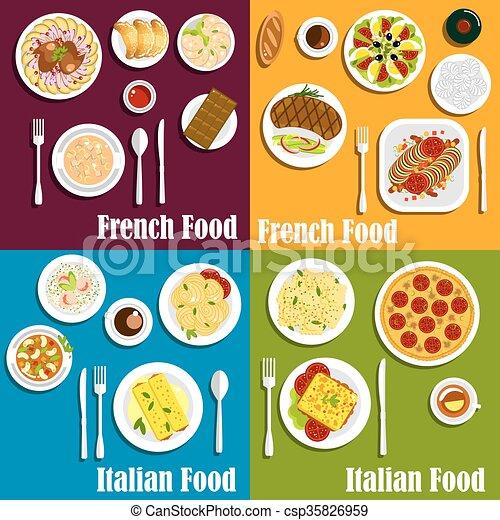 料理, イタリア, 皿, フランス - csp35826959