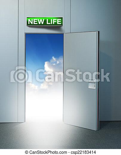 新しい生命, 天国, ドア - csp22183414