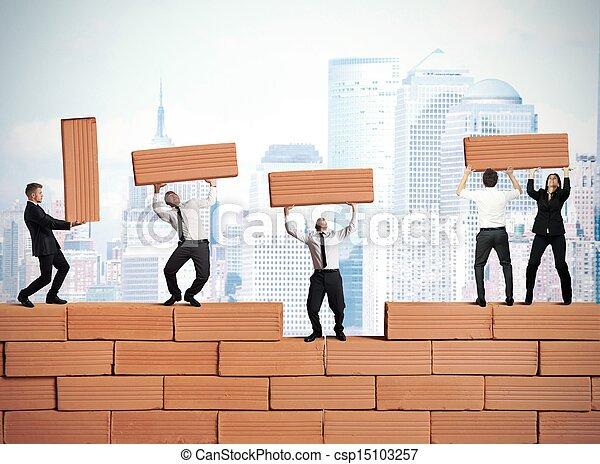 新しい, チームワーク, 建造する, ビジネス - csp15103257