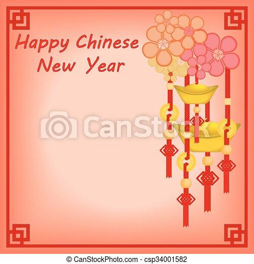 新しい, 中国語, 背景, 年 - csp34001582