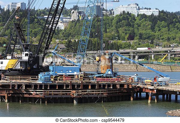 新しい, 建設, bridge., サイト - csp9544479