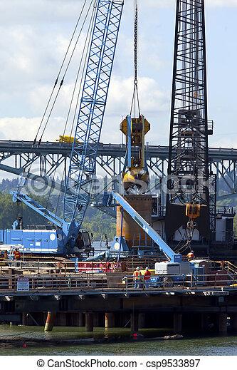 新しい, 建設, bridge., サイト - csp9533897