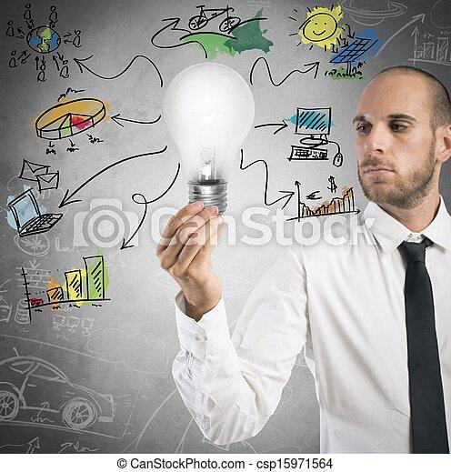 新しい 考え, ビジネスマン - csp15971564