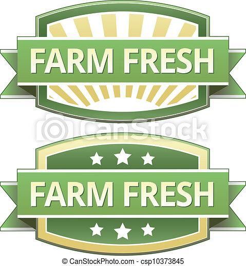 新たに農場で働きなさい, 食物, ラベル - csp10373845