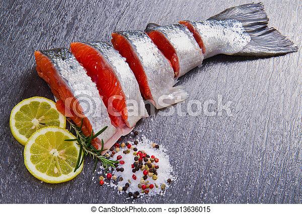 新たに, スライス, 鮭 - csp13636015