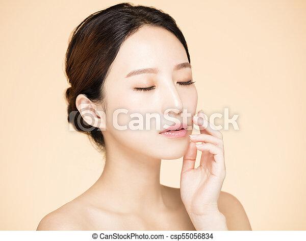 新たに, 女, 若い, きれいにしなさい, 皮膚 - csp55056834