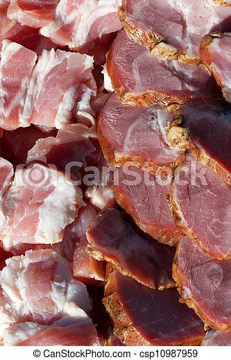 新たに, 横列, 肉, パックされた - csp10987959