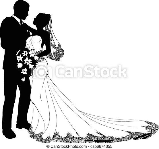 新娘, 新郎, 黑色半面畫像 - csp6674855