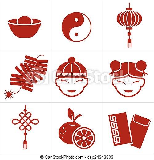 新年, 中国語, アイコン - csp24343303
