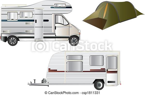 旅行車, 露營 - csp1811331
