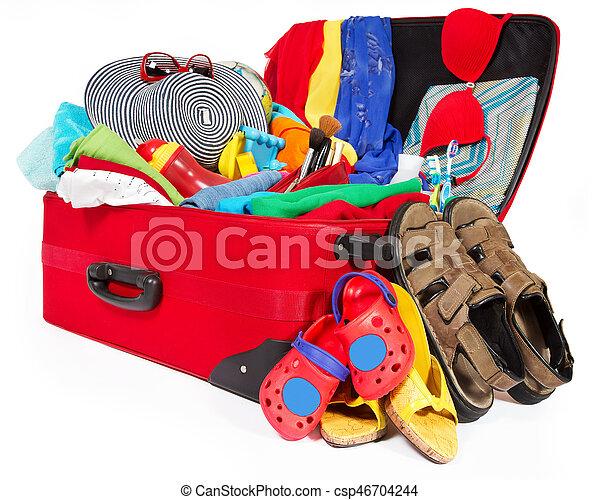 旅行, 休暇, スーツケース, パックされた, フルである, 家族, 衣類, 開いた, 手荷物 - csp46704244