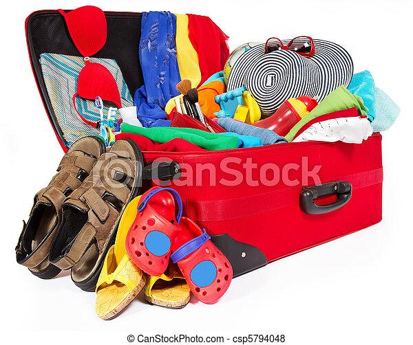 旅行, 休暇, スーツケース, パックされた, 家族, 赤 - csp5794048
