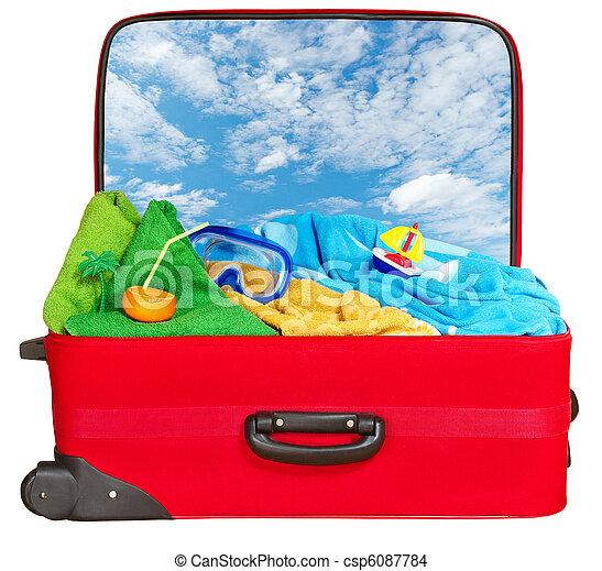 旅行, 休暇, 夏, スーツケース, パックされた, 赤 - csp6087784