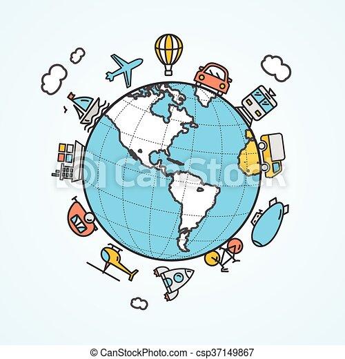 旅行, 矢量, 運輸, concept. - csp37149867