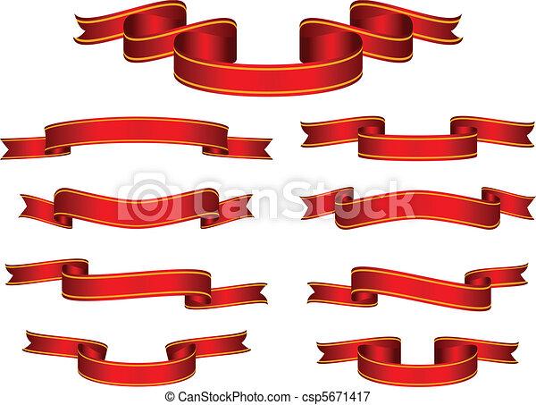 旗幟, 矢量, 集合, 紅的緞帶 - csp5671417
