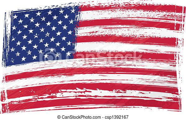 旗, グランジ, アメリカ - csp1392167