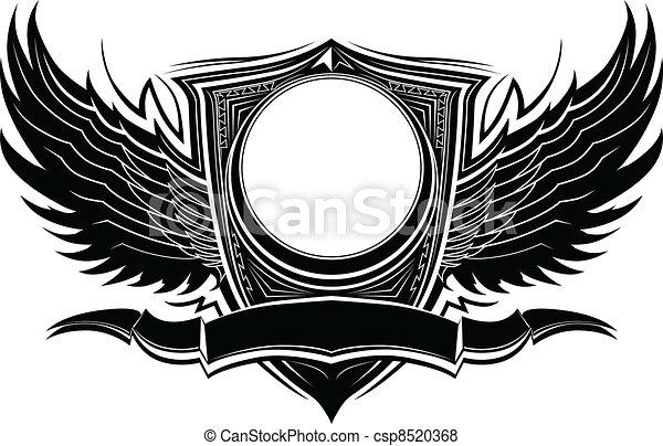 旗, バッジ, 翼, 華やか - csp8520368