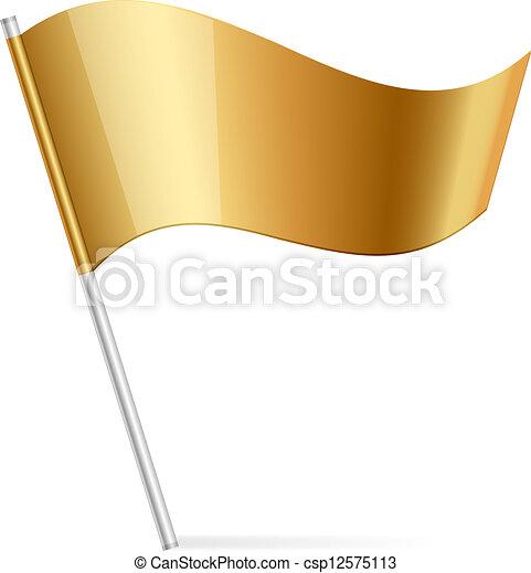旗, ベクトル, イラスト, 金 - csp12575113