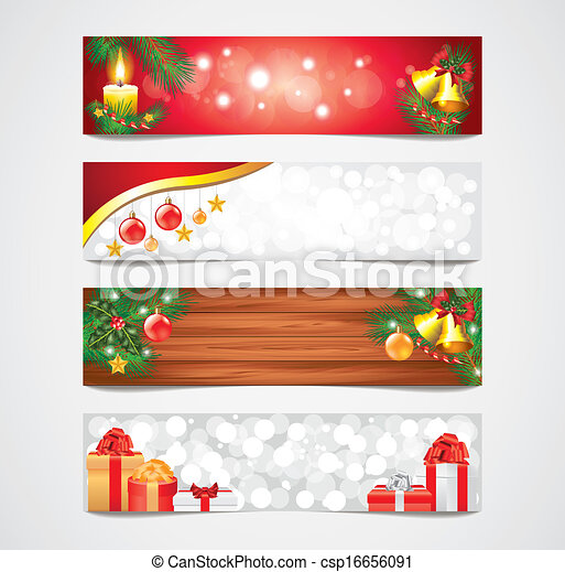 旗, ベクトル, セット, クリスマス, ホリデー - csp16656091