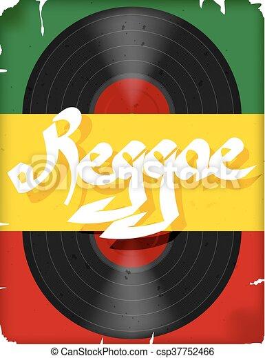 旗, ベクトル, music., レコード, reggae, ポスター, ミュージカル, 有色人種, reggae., イラスト - csp37752466