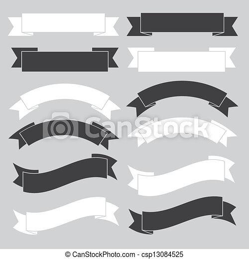 旗, リボン, 古い, white. - csp13084525