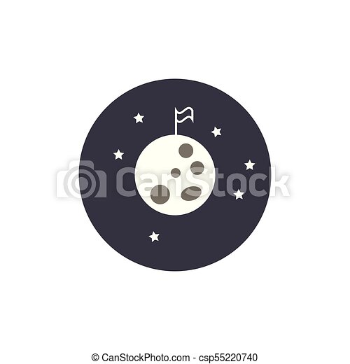 旗, 夜, 月 - csp55220740
