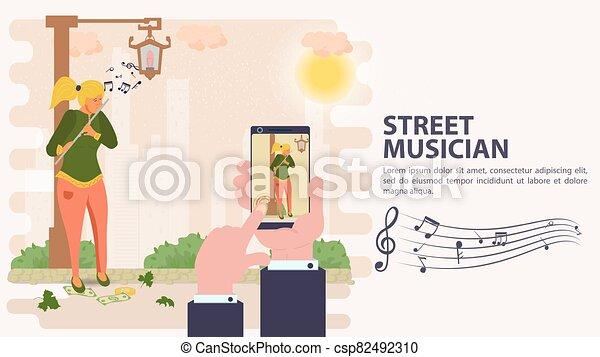 旗, 平ら, 電話, イラスト, モビール, 撮影された, ベクトル, 遊び, 通り, フルート, 音楽家, 女の子, 漫画 - csp82492310