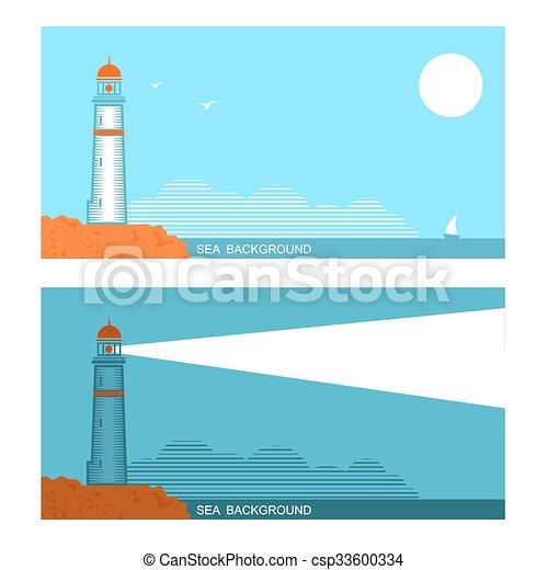 旗, 灯台, 青, について, 海, セット, コレクション, ベクトル - csp33600334