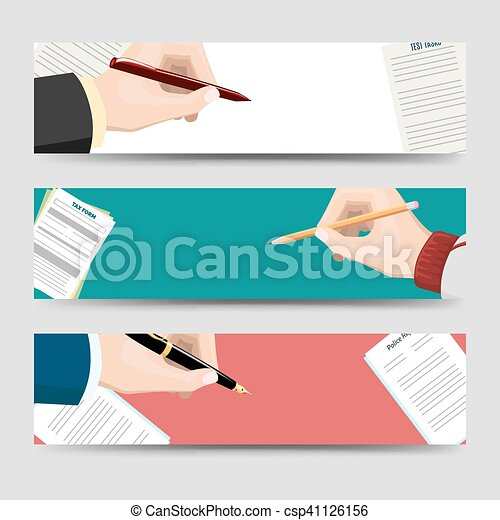 旗, 署名文書, 横, テンプレート - csp41126156
