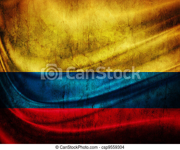 旗, grunge, 哥倫比亞 - csp9559304