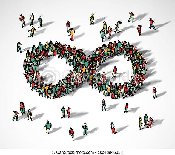 无限, 人群, 大, 符号, 团体, 人们。 - csp48946053