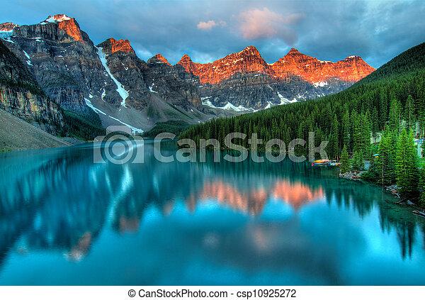 日の出, 氷堆石, 風景, カラフルである, 湖 - csp10925272