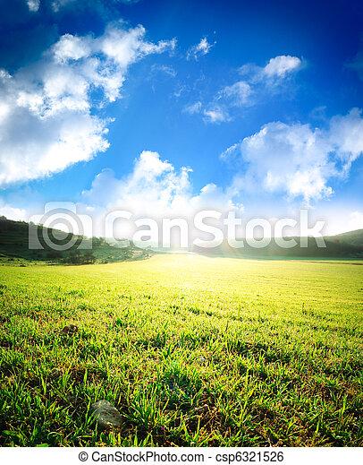 日の出, 緑の採草地, 海原 - csp6321526
