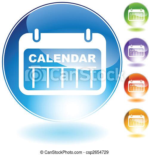 日付, 水晶, カレンダー, アイコン - csp2654729