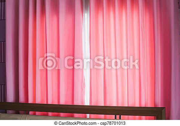 日光, カーテン, 窓, ピンク, によって - csp78701013