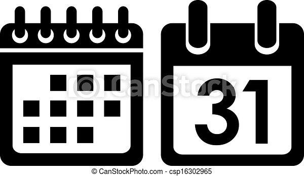 日历, 矢量, 图标 - csp16302965