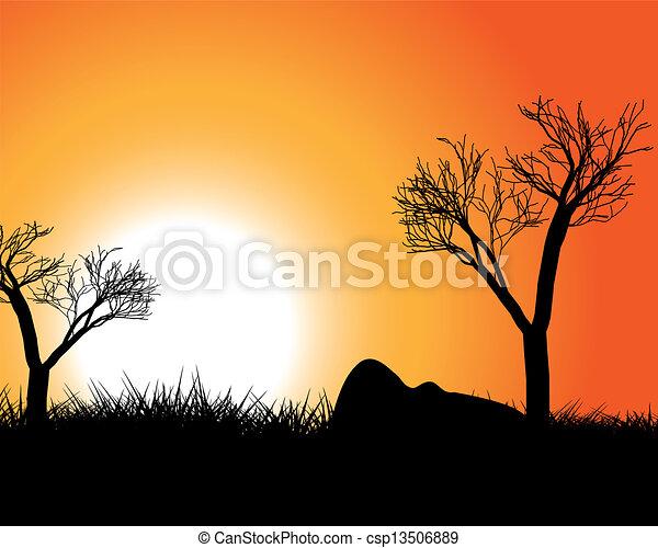日没, アフリカ - csp13506889