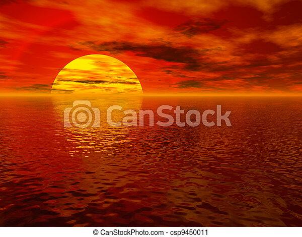 日没, 海 - csp9450011