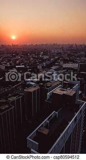 日没, 角度, 光景, 高く, 航空写真, 風景, 都市, 写真 - csp80594512