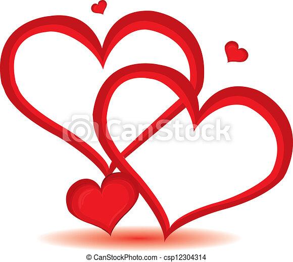 日, 心, バレンタイン, ベクトル, バックグラウンド。, 赤, illustration. - csp12304314