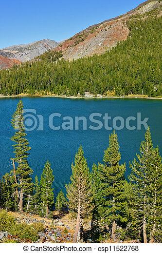 日, tioga 湖, パス, 落ち着いた, yosemite - csp11522768