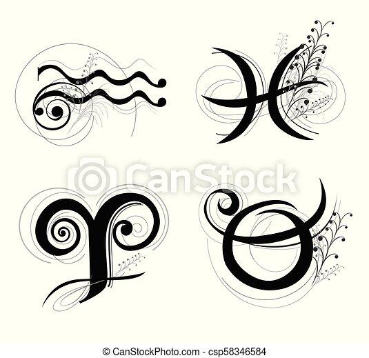星占い, クラシック, シンボル, aquarius, taurus, デザイン, 手紙, 牡羊座, 魚座, 黄道帯, ∥あるいは∥ - csp58346584