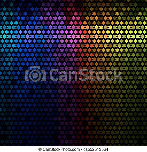 星, 光, 摘要, 迪斯科, 背景。, multicolor, vector., 象素, 馬賽克 - csp52513564