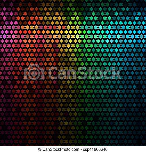 星, 光, 摘要, 迪斯科, 背景。, multicolor, vector., 象素, 馬賽克 - csp41666648