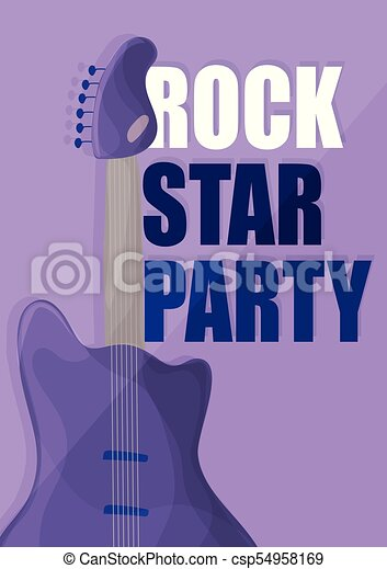星, 背景, 紫色, ポスター, -, ギター, 音楽, テンプレート, 岩, パーティー - csp54958169