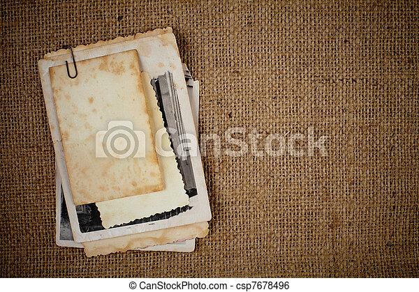 映像, バーラップ, 上に, 手ざわり, 写真, テンプレート, 古い, あなたの, 束 - csp7678496