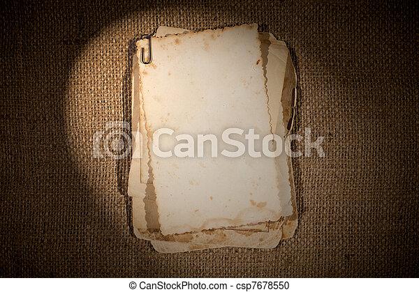 映像, バーラップ, 上に, 手ざわり, 写真, テンプレート, 古い, あなたの, 束 - csp7678550