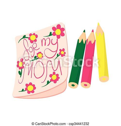 映像, 漫画, お母さん, 子供, 私, 図画, アイコン - csp34441232